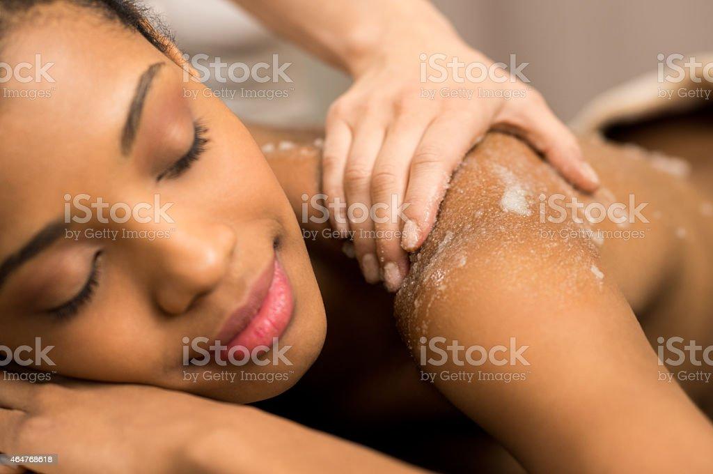 Body exfoliation stock photo