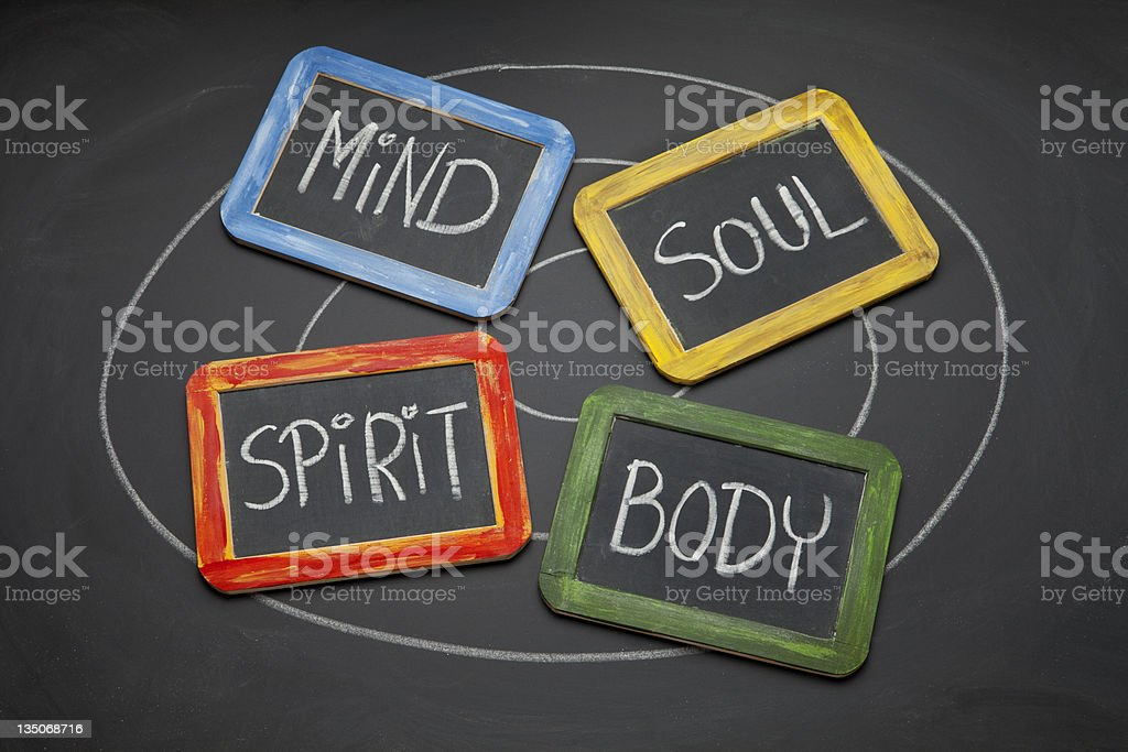 body, mind, soul, and spirit concept stock photo