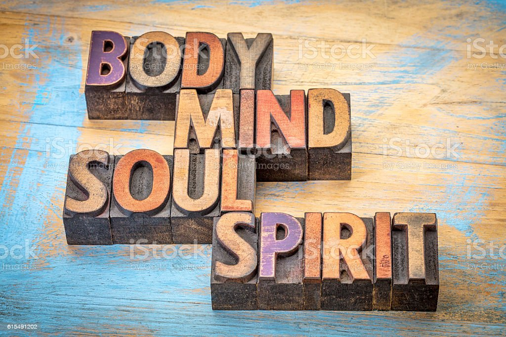body, mind, soul and spirit word abstract stock photo