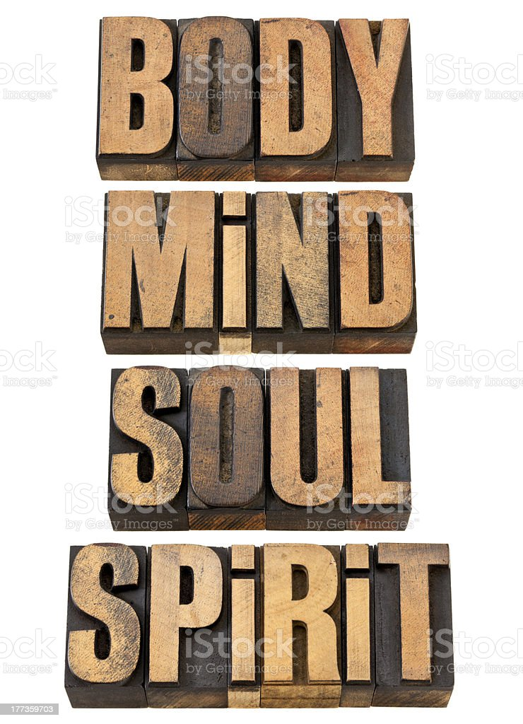 body, mind, soull and spirit in wood type stock photo