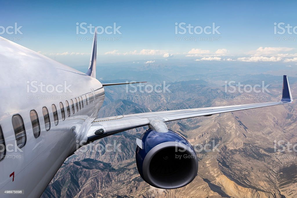 Body of a Flying Airplane stock photo