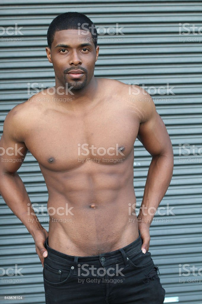 Body of an African American hot male stock photo