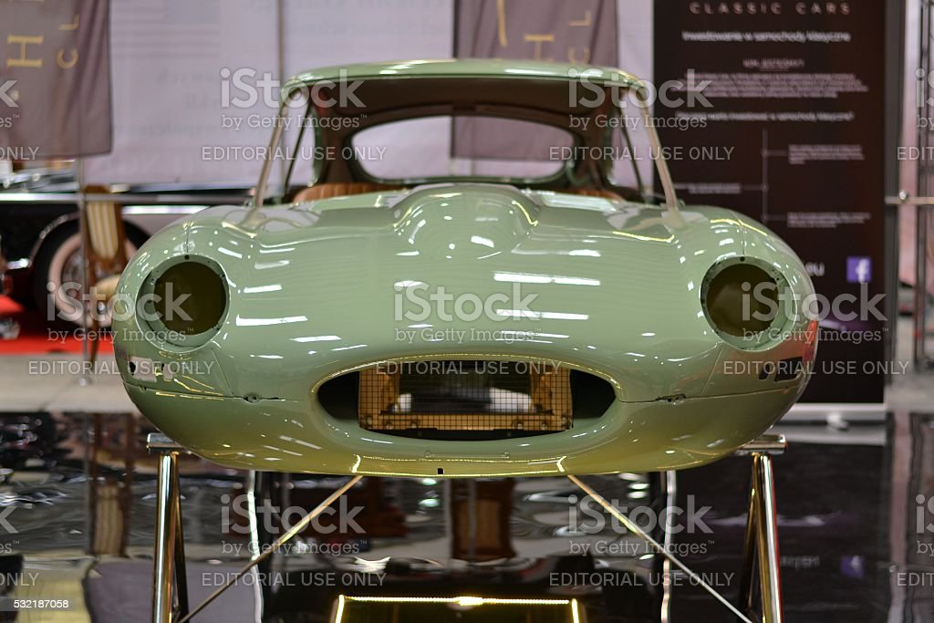 Body of classic Jaguar E-Type stock photo