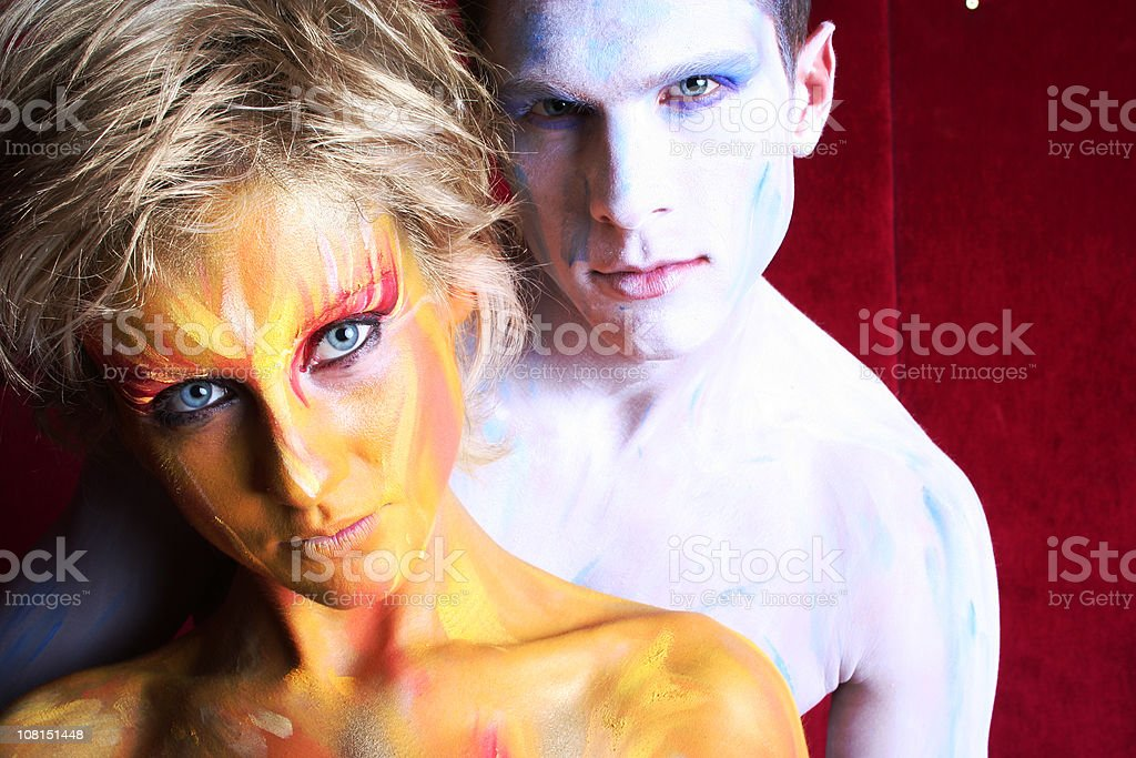 Body Painted Man and Woman Posing royalty-free stock photo