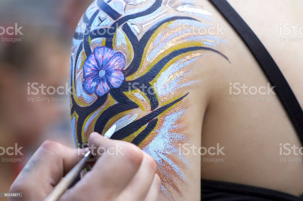 body painting in process. royalty-free stock photo
