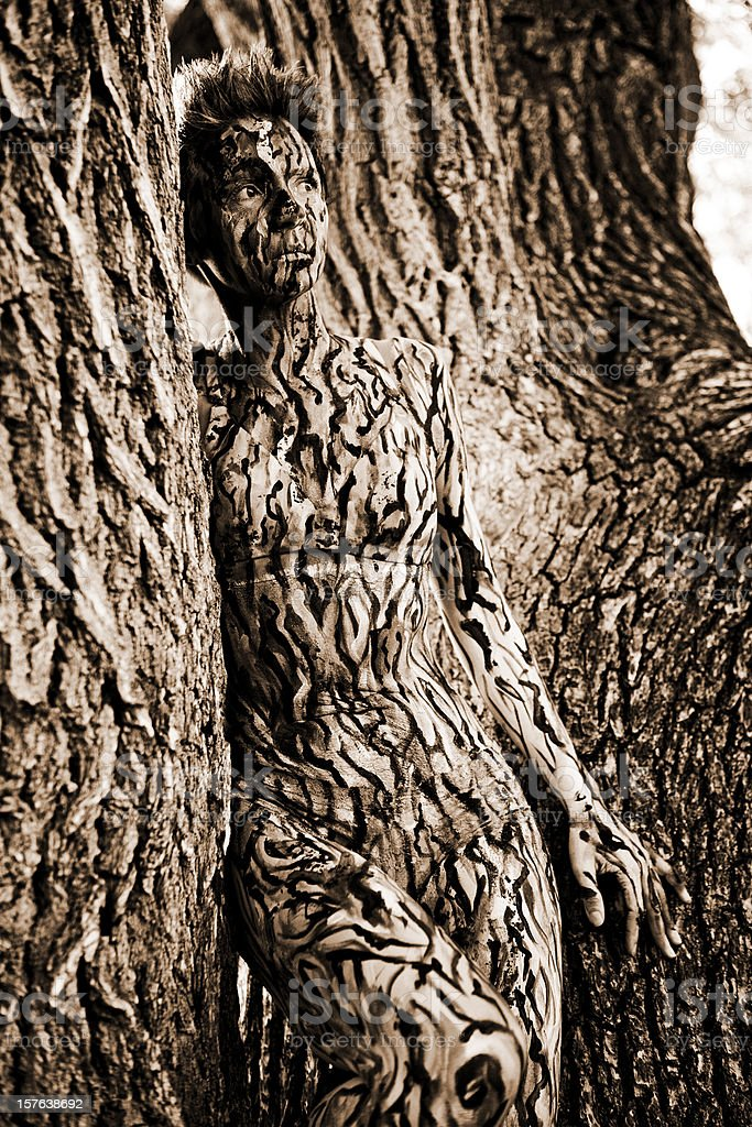 Body Painting: Tree Camouflage royalty-free stock photo