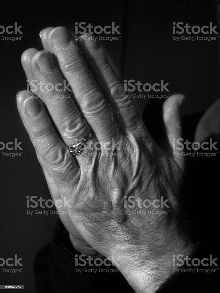 Body & People - Hands Praying Close Up royalty-free stock photo