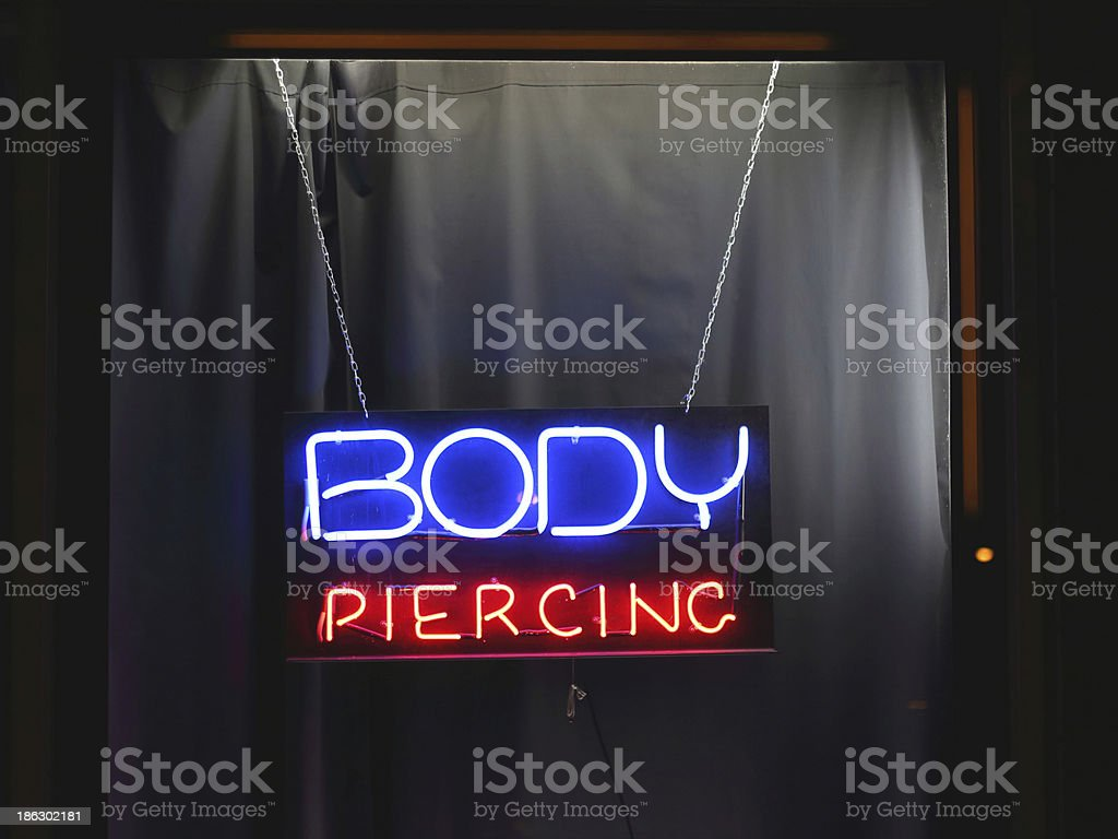 Body Piercing Sign stock photo