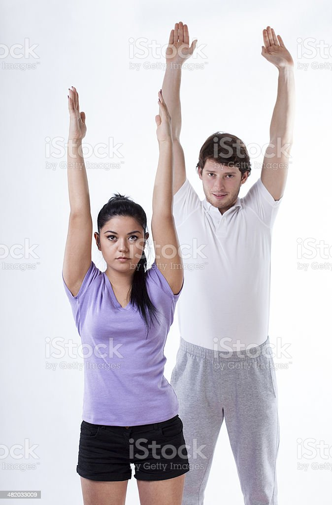 Body stretching and exercising stock photo