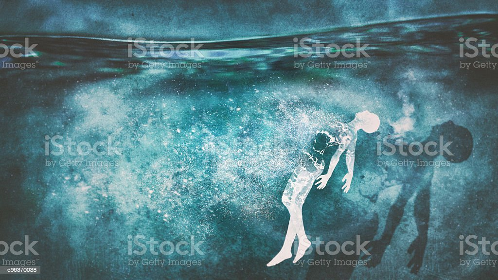 Body underwater stock photo