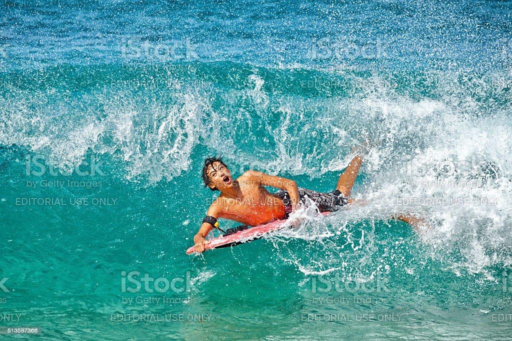 Bodyboarder at Pipeline stock photo