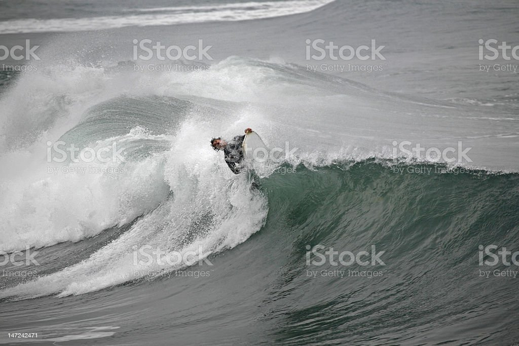 bodyboarder on top of the wave stock photo
