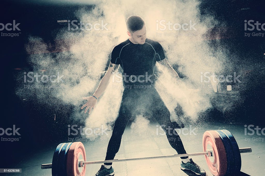 Bodybuilder Doing Deadlift stock photo