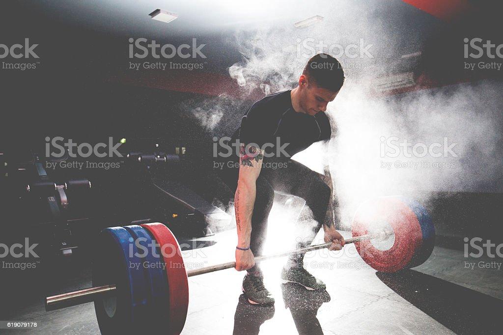 Bodybuilder Doing Deadlift stock photo