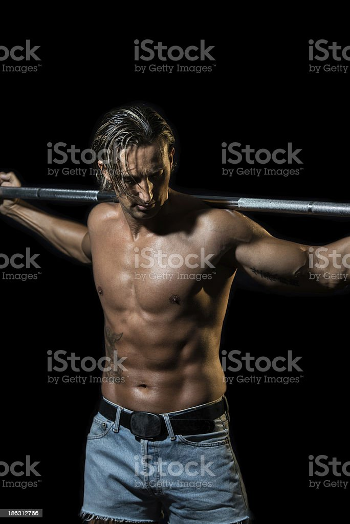 Bodybuilder exercising royalty-free stock photo