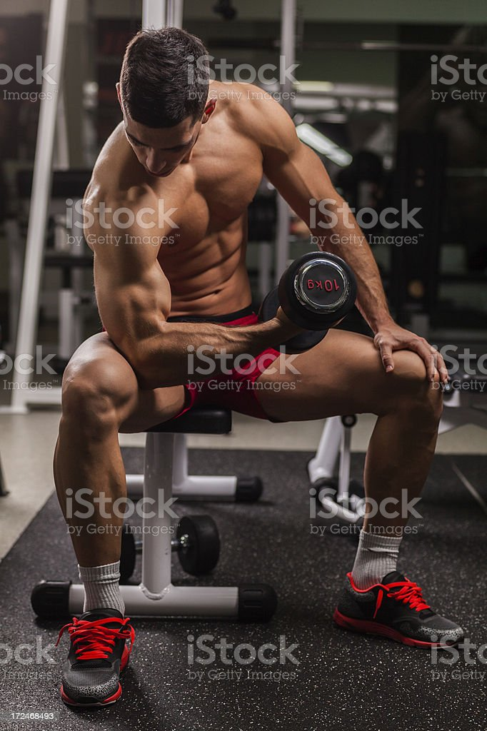 Bodybuilder exercising with weights royalty-free stock photo