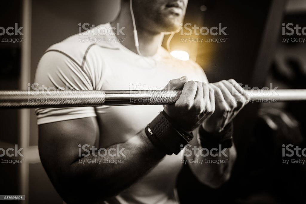 bodybuilder guy hands close up monochrome stock photo