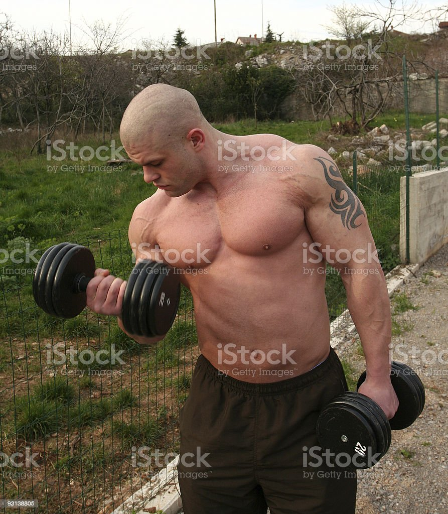Bodybuilder in action royalty-free stock photo