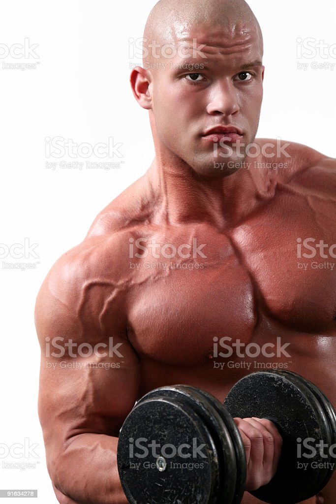 Bodybuilder in fitness center royalty-free stock photo