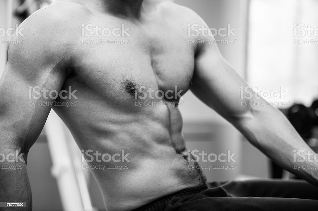 bodybuilder man upper body stock photo