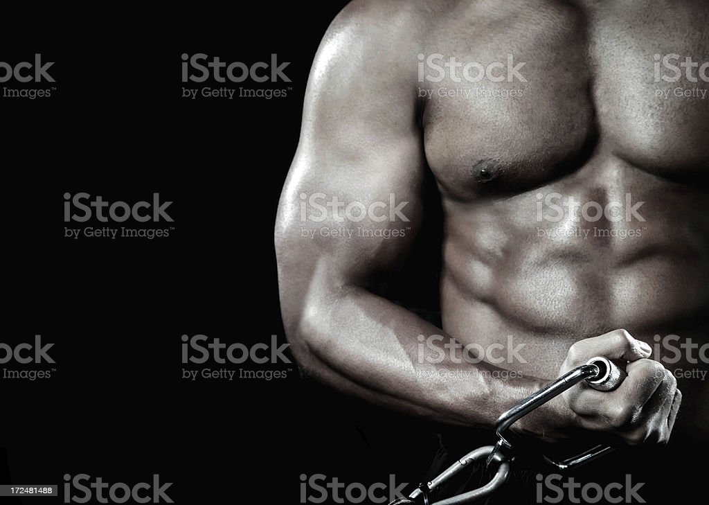 Bodybuilder performing power lift curl royalty-free stock photo