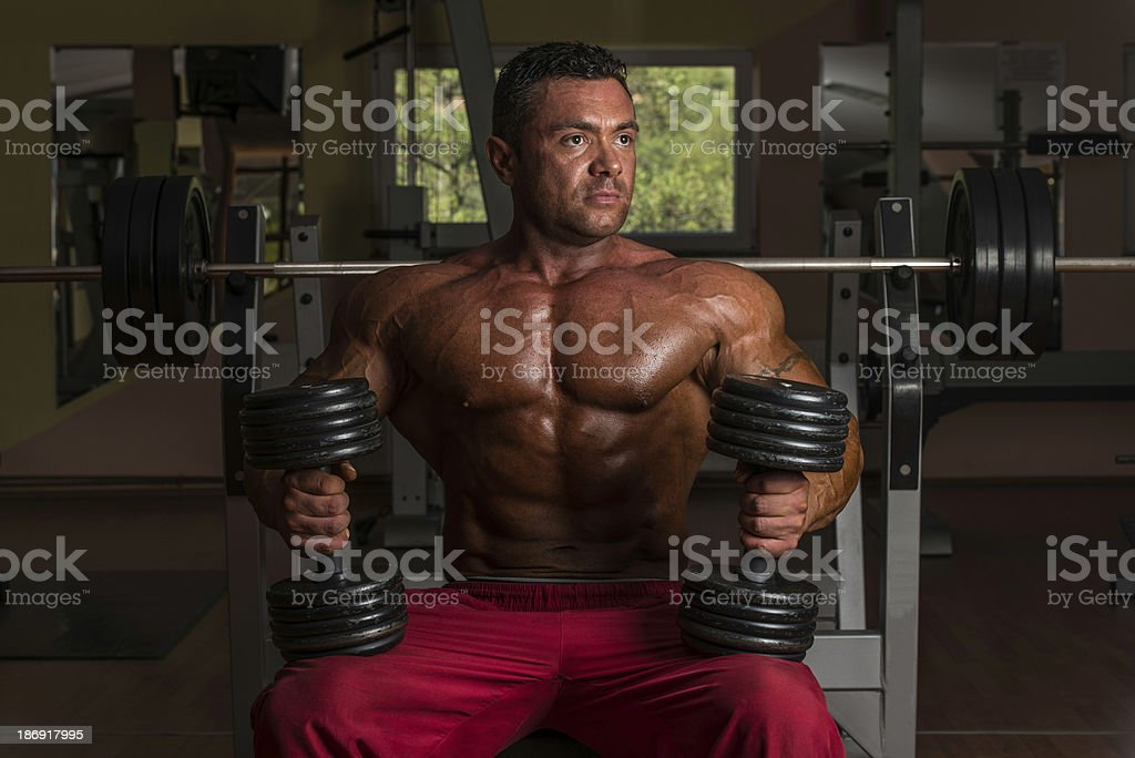 bodybuilder posing with dumbbell at the bench royalty-free stock photo