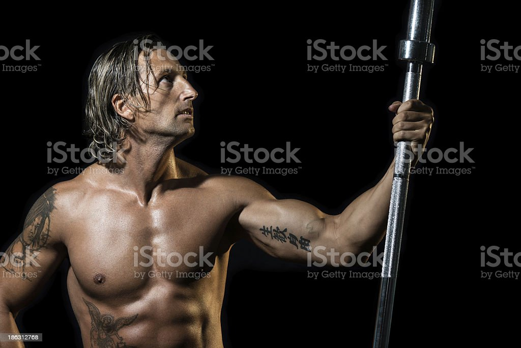 Bodybuilder Resting After Training royalty-free stock photo
