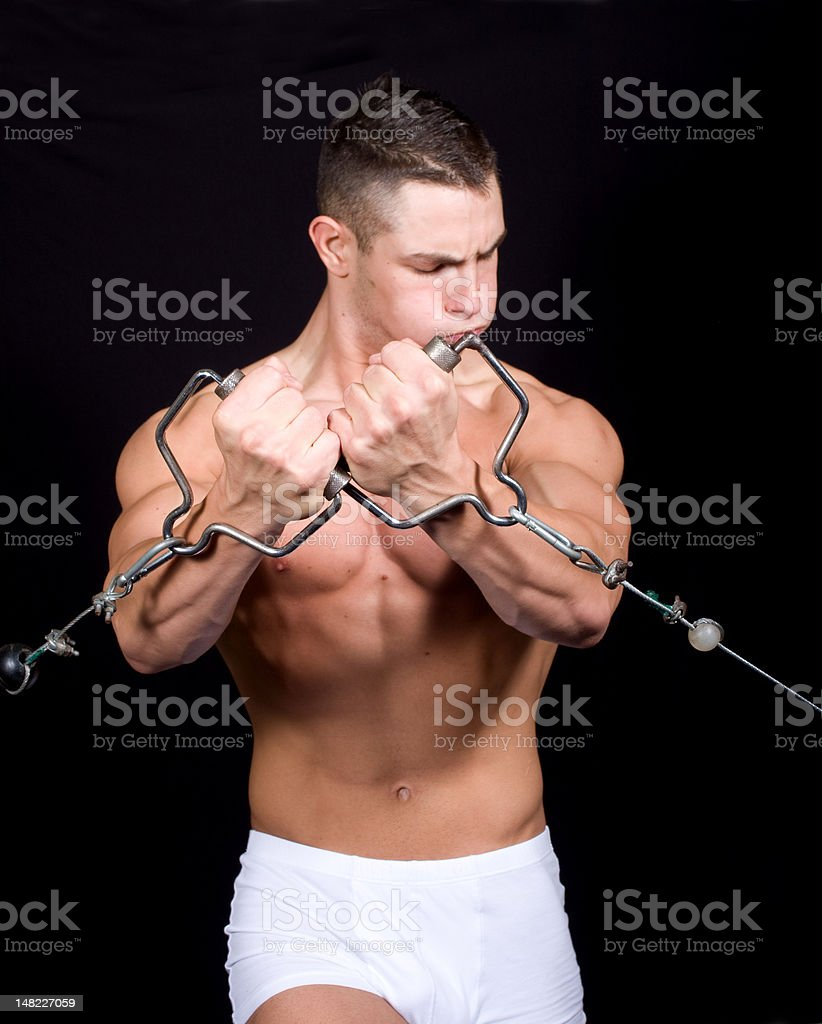 Bodybuilder training in the gym royalty-free stock photo