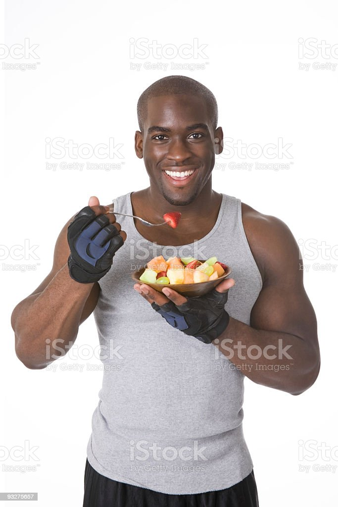 Bodybuilder with Fresh Fruit royalty-free stock photo