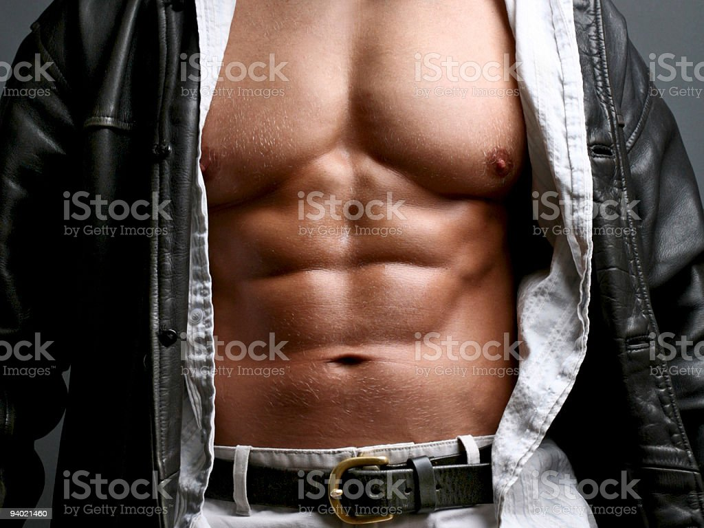 Bodybuilder With Open Leather Jacket stock photo