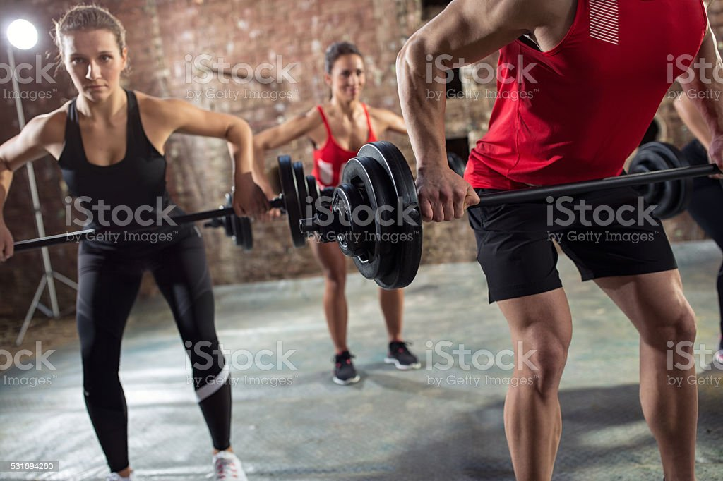 bodybuilders have training stock photo