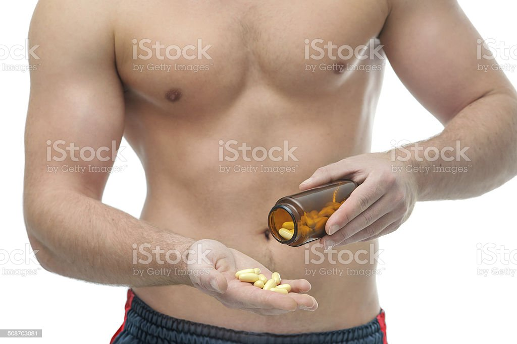 Bodybuilding dietary supplements stock photo