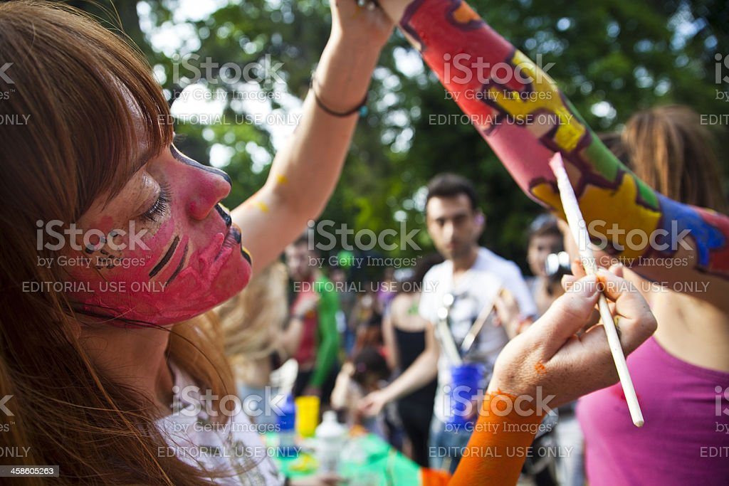 Bodypainting before 4th World Naked Bike Ride at Thessaloniki royalty-free stock photo