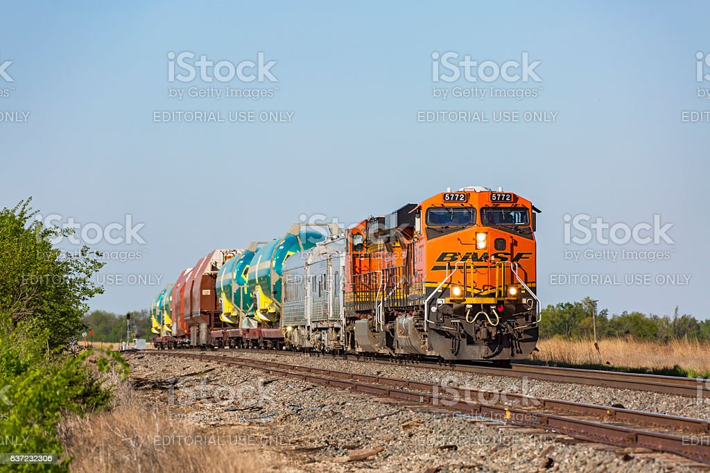 BNSF Boeing 737 aircraft fuselage train stock photo