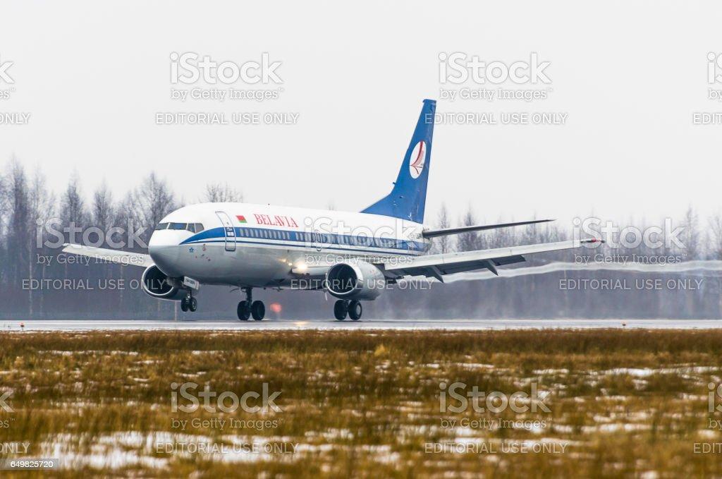 Boeing 737 Belavia, airport Pulkovo, Russia Saint-Petersburg 11 January 2017 stock photo