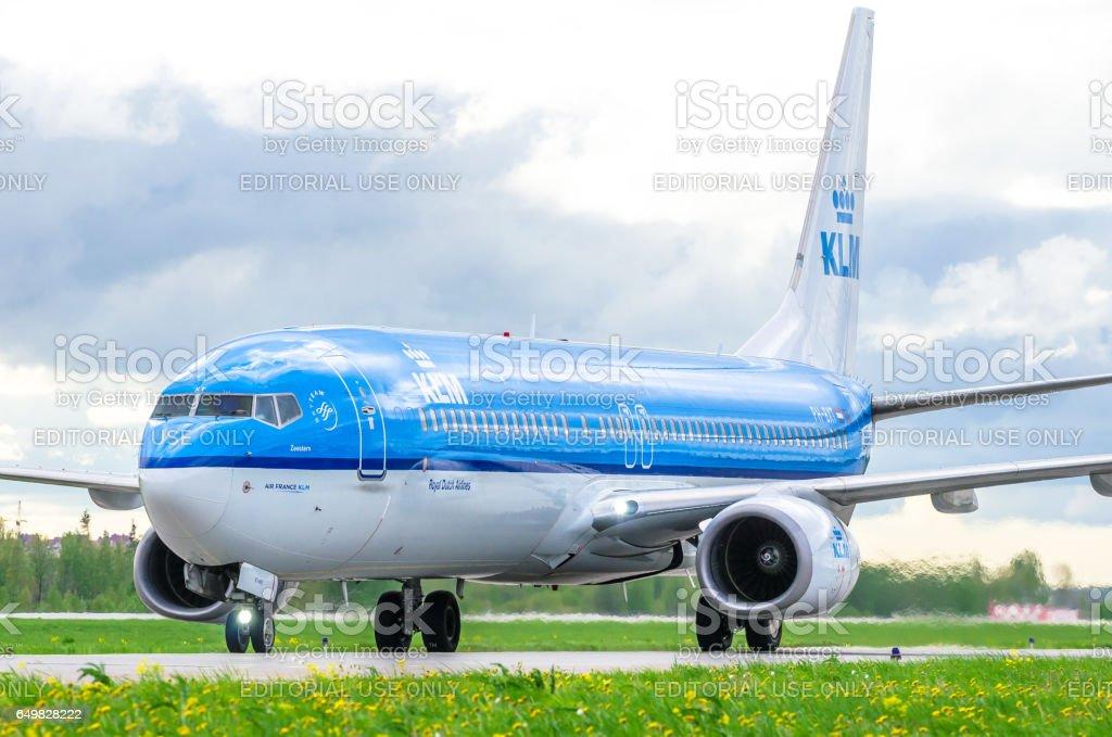 Boeing 737 KLM airlines, airport Pulkovo, Russia Saint-Petersburg August 2016 stock photo