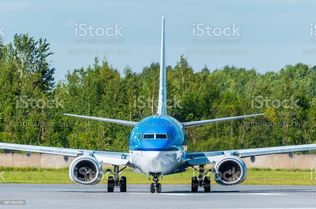 Boeing 737 KLM airlines, airport Pulkovo, Russia Saint-Petersburg August 2015 stock photo