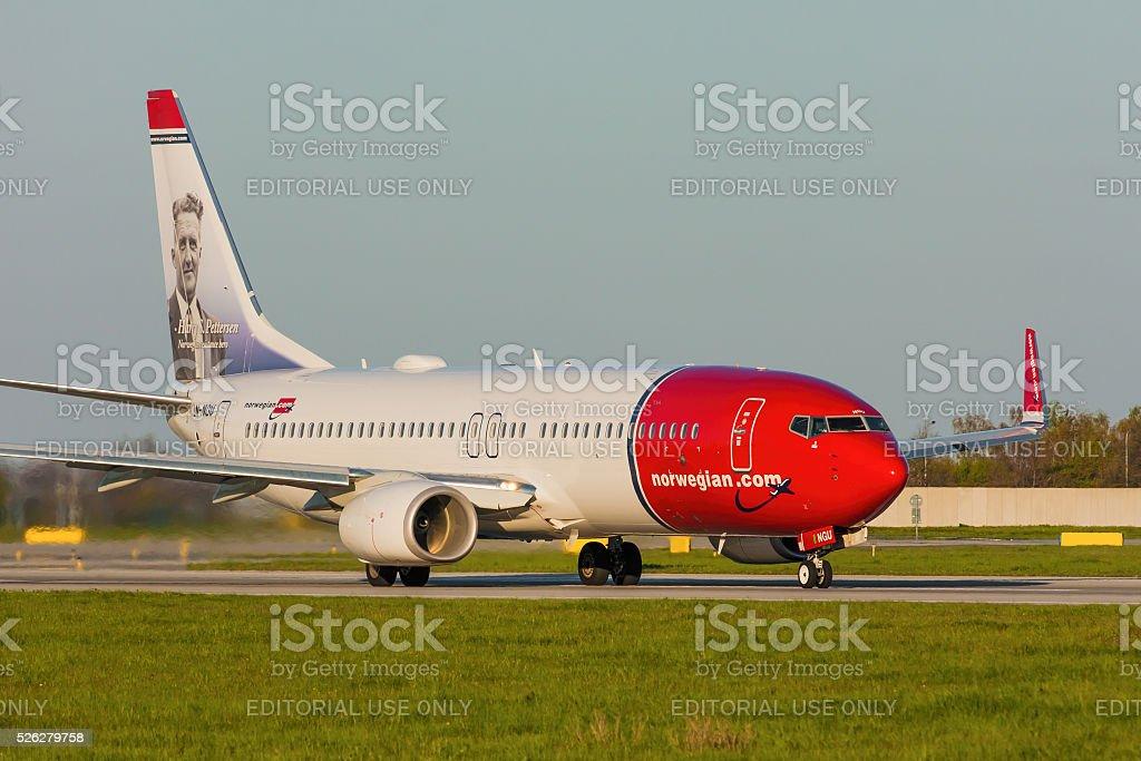 Boeing 737 of Norwegian stock photo