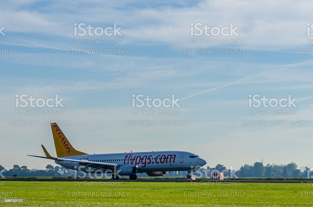 Boeing 737 of Pegasus landing at Schiphol stock photo
