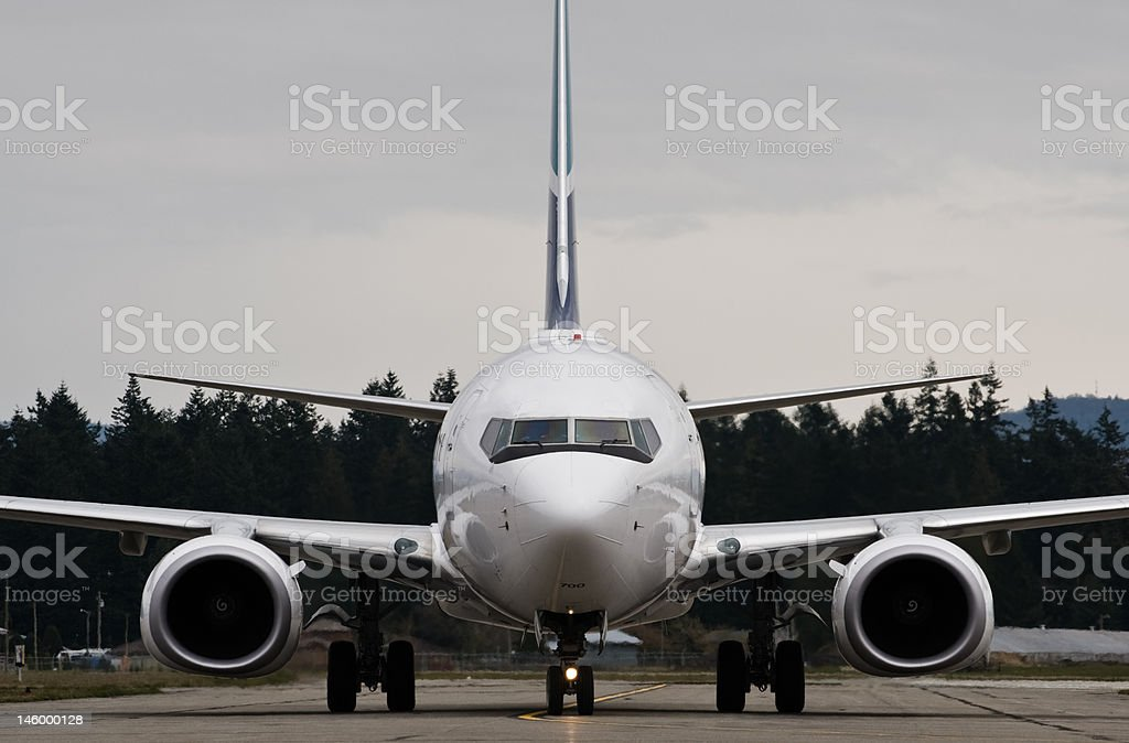 Boeing 737 on taxiway stock photo