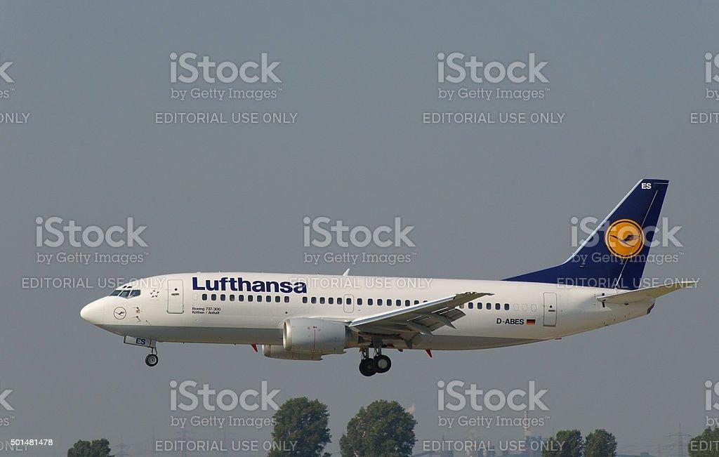 Boeing 737-300 of Lufthansa 'Köthen / Anhalt' stock photo