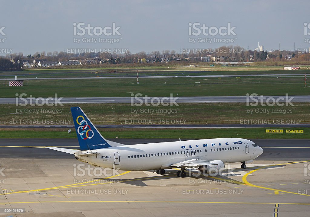Boeing 737-400 of Olympic Airlines stock photo