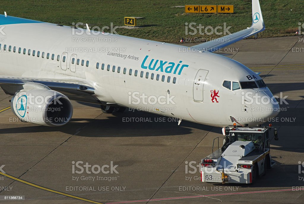 Boeing 737-800 of Luxair stock photo