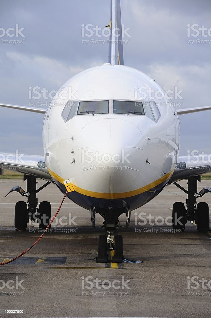 Boeing 737-800 parked. stock photo
