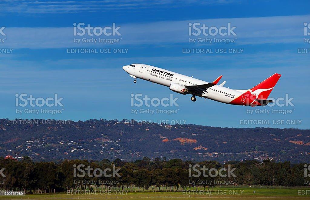 QANTAS Boeing 737-838 takes off from Adelaide stock photo