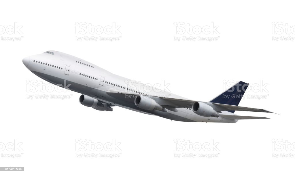 Boeing 747 airplane in the air isolated on white stock photo