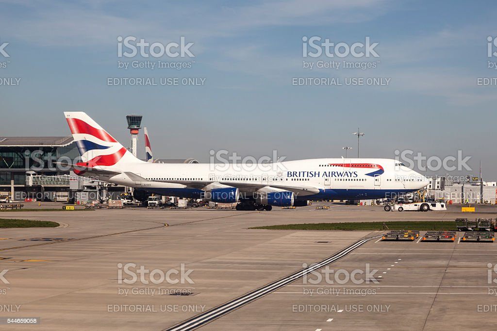 Boeing 747 at the London Heathrow Airport stock photo