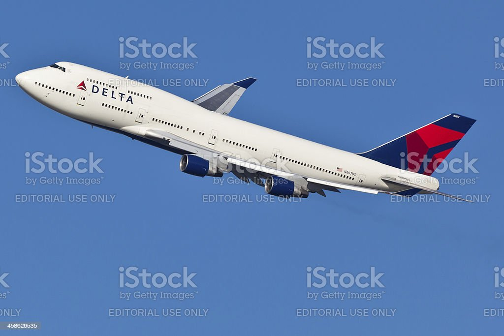 Boeing 747 Delta Air Lines stock photo