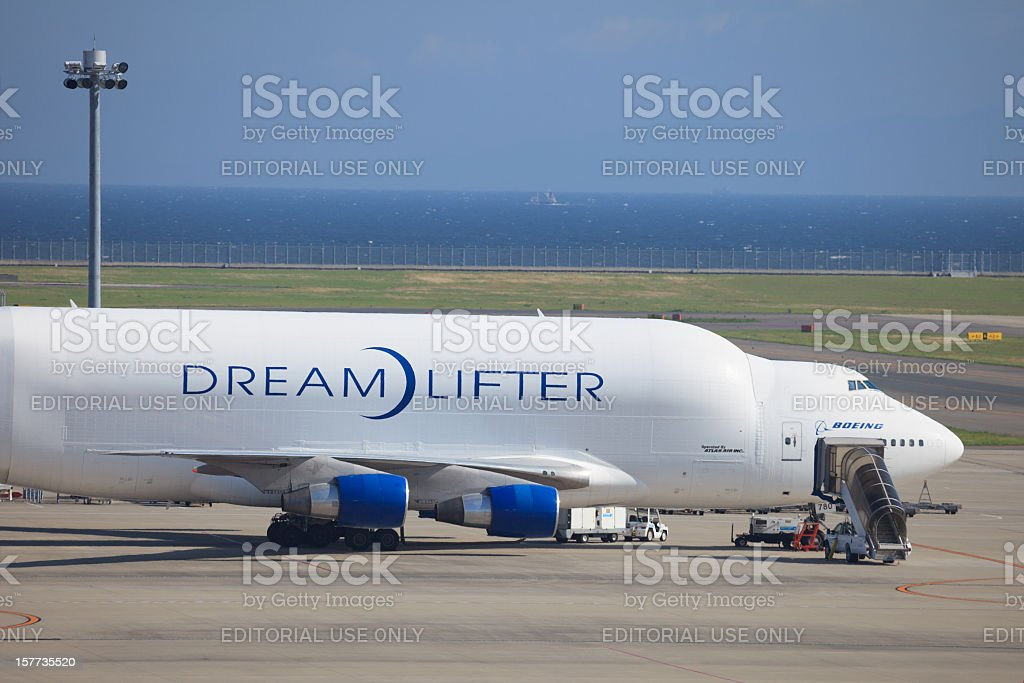 Boeing 747 Dreamlifter / Large Cargo Freighter in Japan stock photo