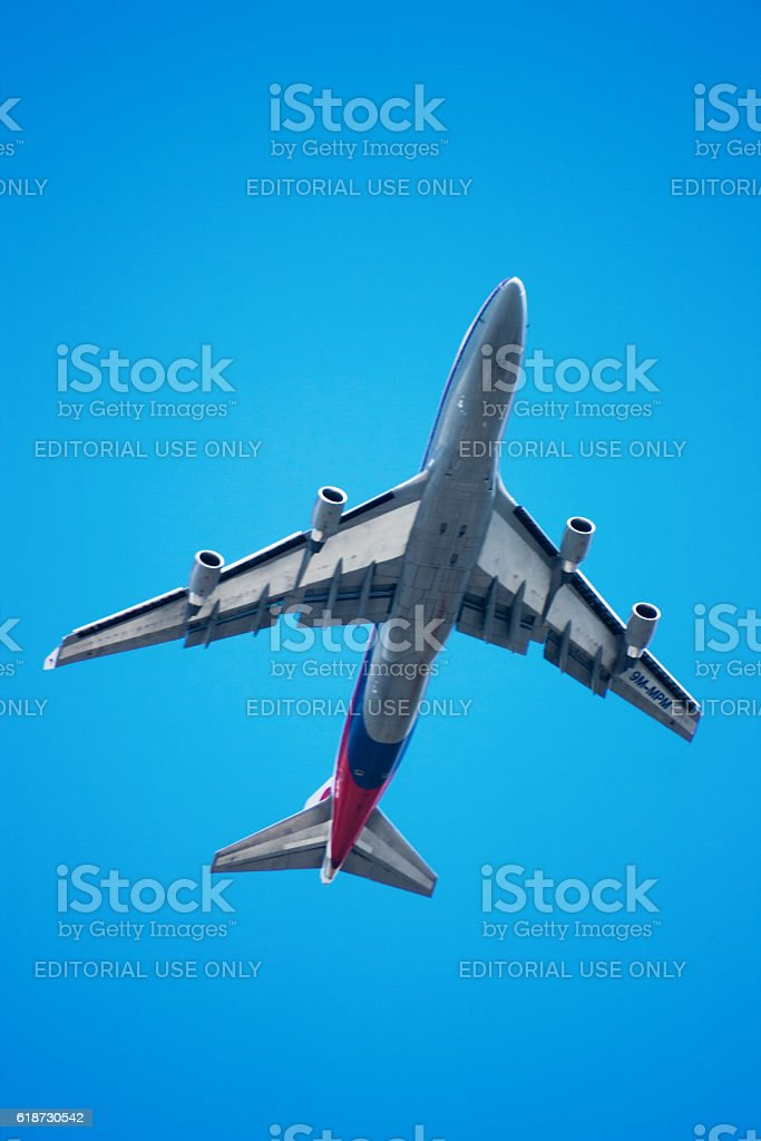 Boeing 747 from Malaysia Airlines stock photo